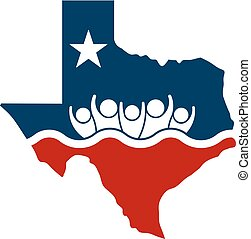 Concept Texas People Flooding Relief Logo