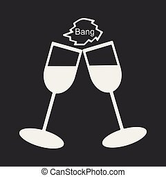 Flat in black and white mobile application stemware
