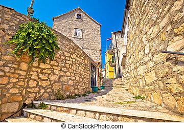 Island of Zlarin old mediterranean village view, coral...