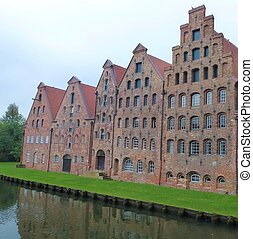 Old brick houses in the city of Luebeck
