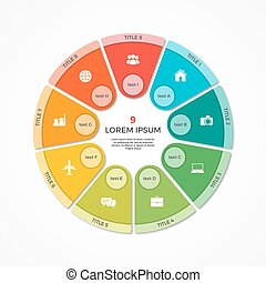 Vector pie chart circle infographic template with 9 options