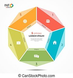 Colorful infographic template with 5 options circle chart ....