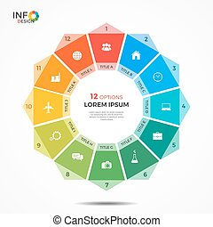 Infographic template with 12 options circle chart. The...