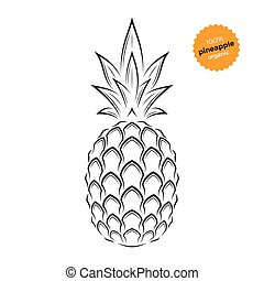 Pineapple emblem, label, symbol. Template for stores,...