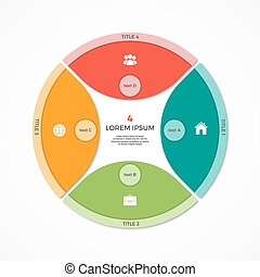 Vector pie chart circle infographic template with 4 options