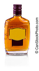 Bottle of cognac isolated on white background.