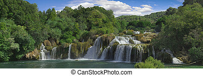 Krka River Waterfall Panorama - National Park KRKA River...