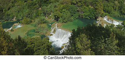 Krka Waterfall Panorama - National Park KRKA River Waterfall...