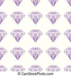 Seamless pattern of geometric purple pink diamonds on white...