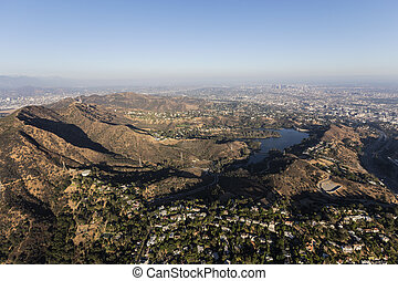 Griffith Park and Hollywood Hills Aerial - Aerial view of...