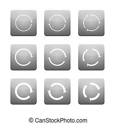 Set of white vector arrows in grey buttons.