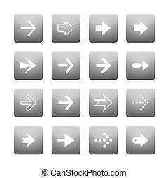 Set of white vector arrows and grey buttons