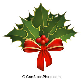 Christmas decoration with holly branches and bow