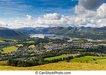 View of Keswick and Derwent Water from Latrigg, Cumbria, UK...