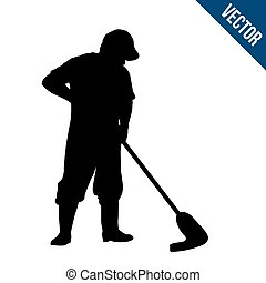 Man silhouette mopping the wet floor on white background,...