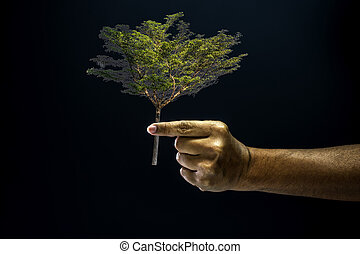 Hand pinch finger for giving a tree