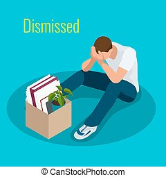 Isometric 3d vector illustration people Dismissed sad man...