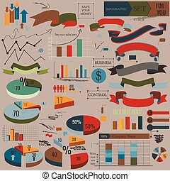 Collection of vector infographic elements, ribbons and...