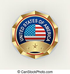 emblem of a golden color with a reflection of the American flag,