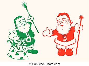 drawing of Santa claus with gifts