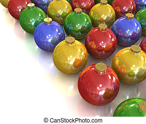 A lot of christmas glossy and shiny balls with different colors isolated on white background