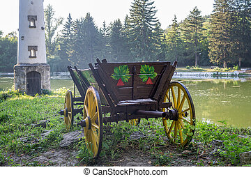 Old Wagon with yellow wheels
