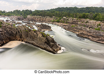 Great Falls Park in Virginia, United States. It is along the...