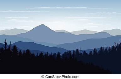 Vector illustration, Landscape view with sunset, sunrise, the sky, clouds,  mountain peaks, and forest. for the website background