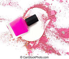 Nail polishing and broken multicolor make up powder