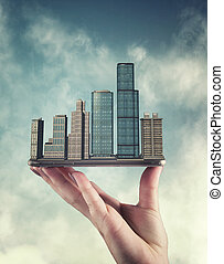 City on smartphone  in the sky