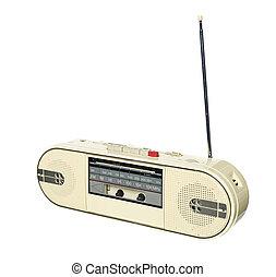 1980s style radio isolated on white background