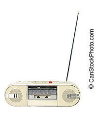 1980s radio isolated on white background