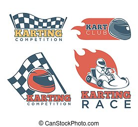 Karting race club and competition promotional emblems set -...