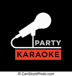 Karaoke party minimalistic promotional poster with...