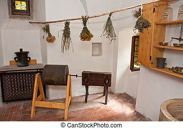 herbal room - different dried plants made for alternative...