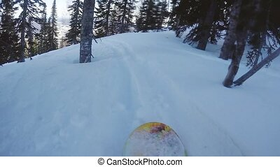 Extreme snowboarder riding through the forest in slow motion...