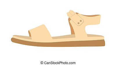 Womens comfortable casual sandal on flat sole isolated...