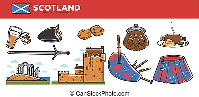Scotland travel destination promotional banner with national...
