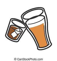 Scotch with ice and freshly brewed ale illustrations -...