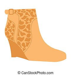 Stylish autumn suede half-boot with giraf pattern on small...
