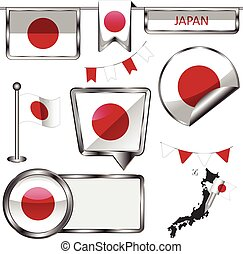 Glossy icons with flag of Japan