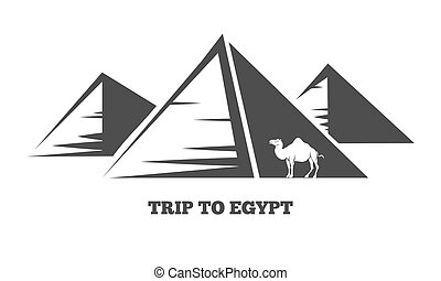 Egyptian pyramids and camel silhouettes - Trip to Egypt. The...