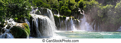 Waterfalls - Beautiful landscape of Krka waterfalls...