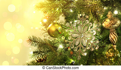 Christmas tree decorations with sparkle background
