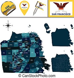 Map of San Francisco with Districts - Vector map of San...