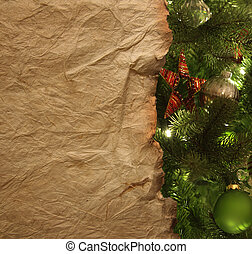 Parchment paper with christmas background
