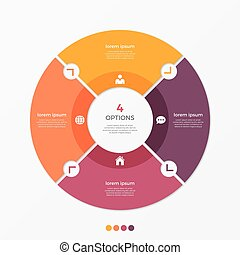 Circle chart infographic template with 4 options.