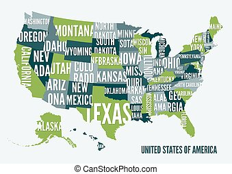 United  States of America map print poster design.