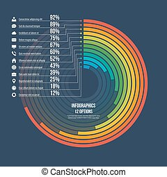 Informative infographic circle chart 12 options. -...