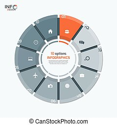 Vector circle chart infographic template with 10 options for...